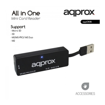 APPROX APPCR01B All-in-one Mini kártyaolvasó (Micro SD/ SD/ MS/MS-PRO/ MSDuo/ M2) Fekete