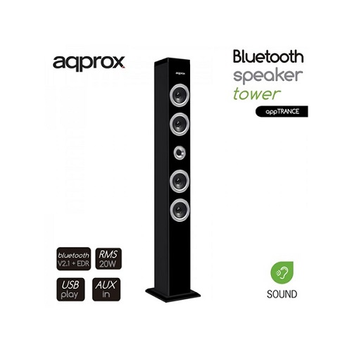 APPROX APPTRANCE Bluetooth Speaker torony (BT, 2.1 Stereo Speakers, USB, 3.5mm Audio Jack, 1m magas)