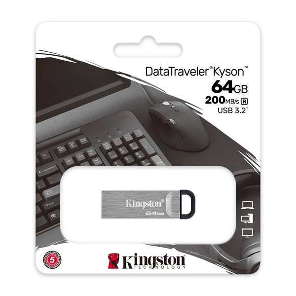 Kingston Kyson 64GB USB 3.2 Ezüst (DTKN/64GB) Flash Drive - 3év garancia