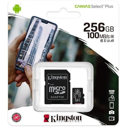 Kingston 256GB SD micro Canvas Select Plus (SDXC Class 10 A1) (SDCS2/256GB) memóriakártya+adapter - 3év garancia