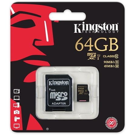 Kingston 64GB Class 10 UHS-I microSDXC mem�riak�rtya - 3�v garancia