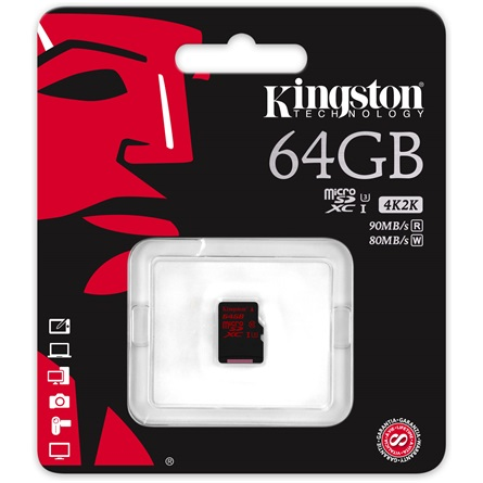Kingston 64GB Class 3 UHS-I microSDXC mem�riak�rtya - 3�v garancia