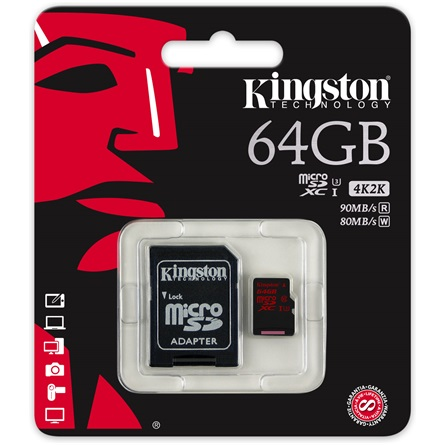 Kingston 64GB Class 3 UHS-I microSDXC mem�riak�rtya+adapter - 3�v garancia