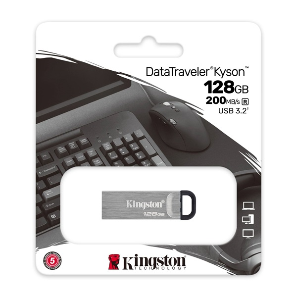 Kingston Kyson 128GB USB 3.2 Ezüst (DTKN/128GB) Flash Drive - 3év garancia