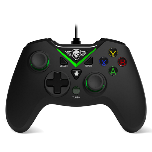 Spirit of Gamer Gamepad - PGX WIRED Green (USB, 1,8m kábel, Vibration, Xbox ONE és PC kompatibilis, fekete-zöld)