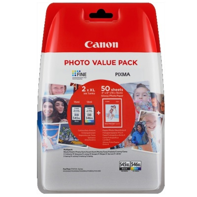 Canon PG-545XL fekete+ Canon 546XL + 50db 10x15cm fotópapír Photo Value Pack